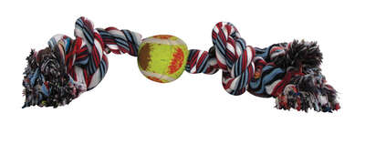 Diggers Multicolored Rope with Tennis Ball Cotton Rope with Tennis Ball Dog Toy Large 1