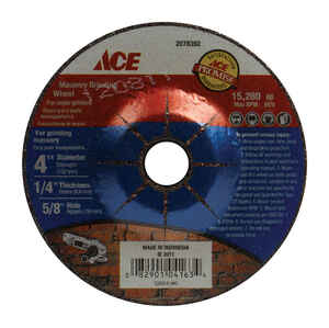 Ace  1/4 in. thick  x 5/8 in.   x 4 in. Dia. Aluminum Oxide  Masonry Grinding Wheel  1 pc. 15280 rpm