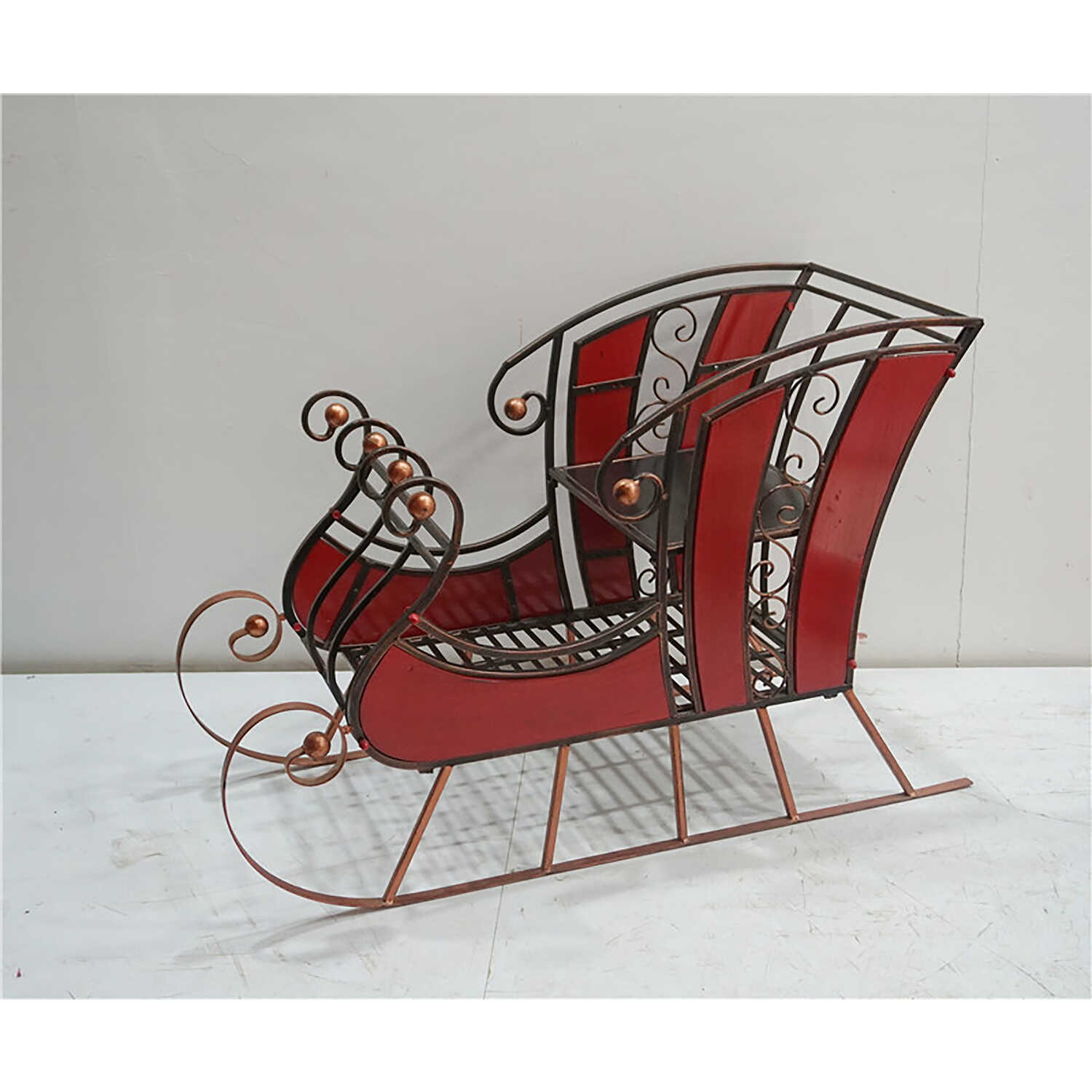 Sunset Vista  Sleigh  Christmas Decoration  Christmas Sleigh  Metal  Red  1 pk