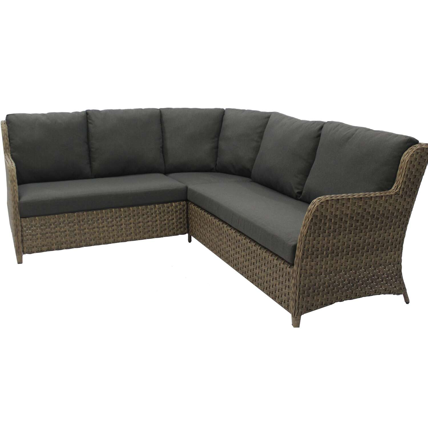 Living Accents Ashton 6 pc. Greige Steel Modular Sectional Deep Seating Set Charcoal Cushions