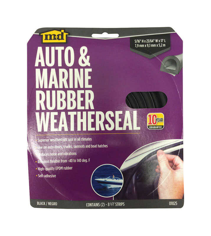 M-D Building Products  Black  Rubber  Weather Stripping  For Auto and Marine 17 ft. L x 5/16 in.