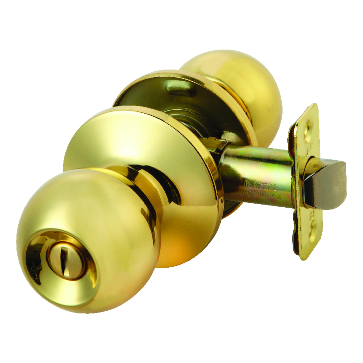 Ace  Ball  Polished Brass  Steel  Privacy Lockset  1-3/4 in. ANSI/BHMA Grade 3