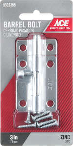 Ace Barrel Bolt 3 in. Zinc For Lightweight Doors, Chests and Cabinets