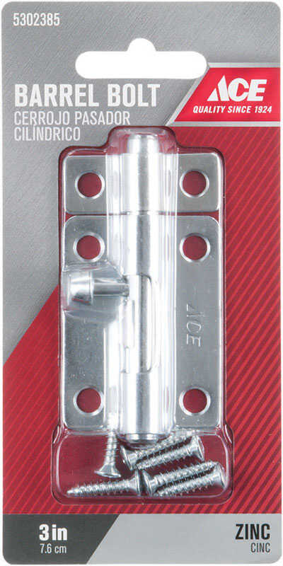 Ace  3 in. L Zinc-Plated  Steel  Barrel Bolt