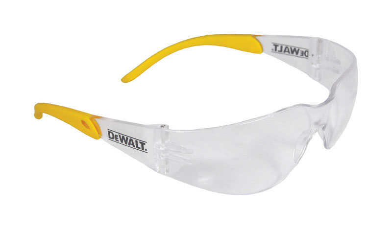 DeWalt  Protector  Indoor/Outdoor  Anti-Fog Safety Glasses  Clear Lens Yellow Frame 1 pc.