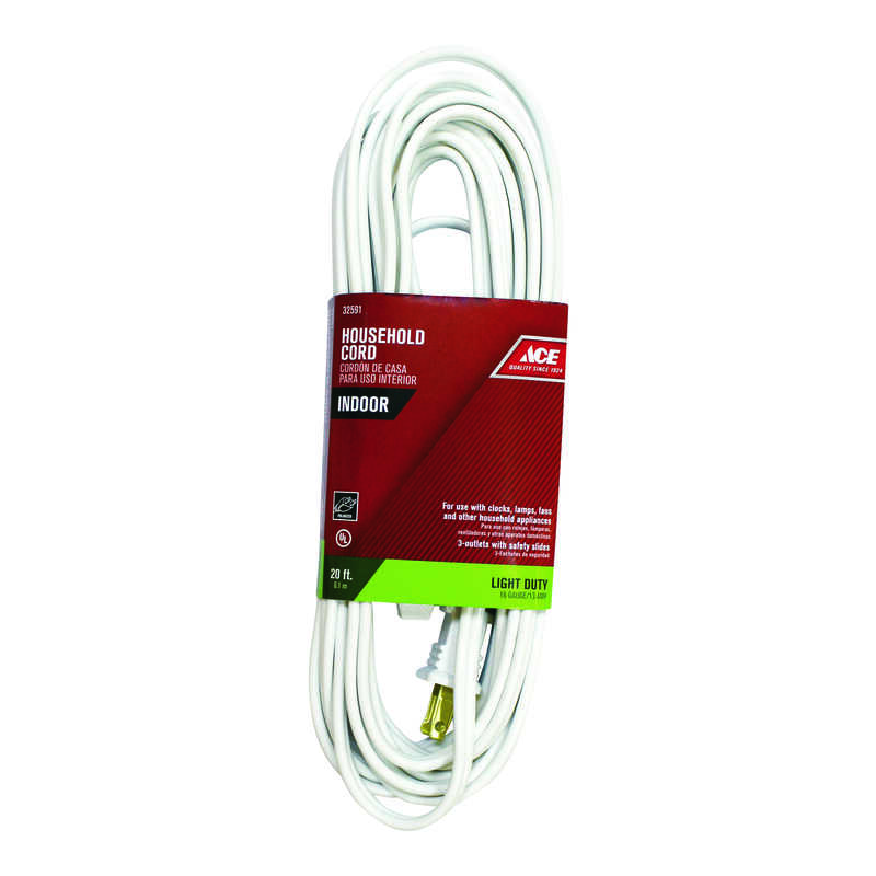Ace  Indoor  20 ft. L White  Extension Cord  16/2 SPT-2