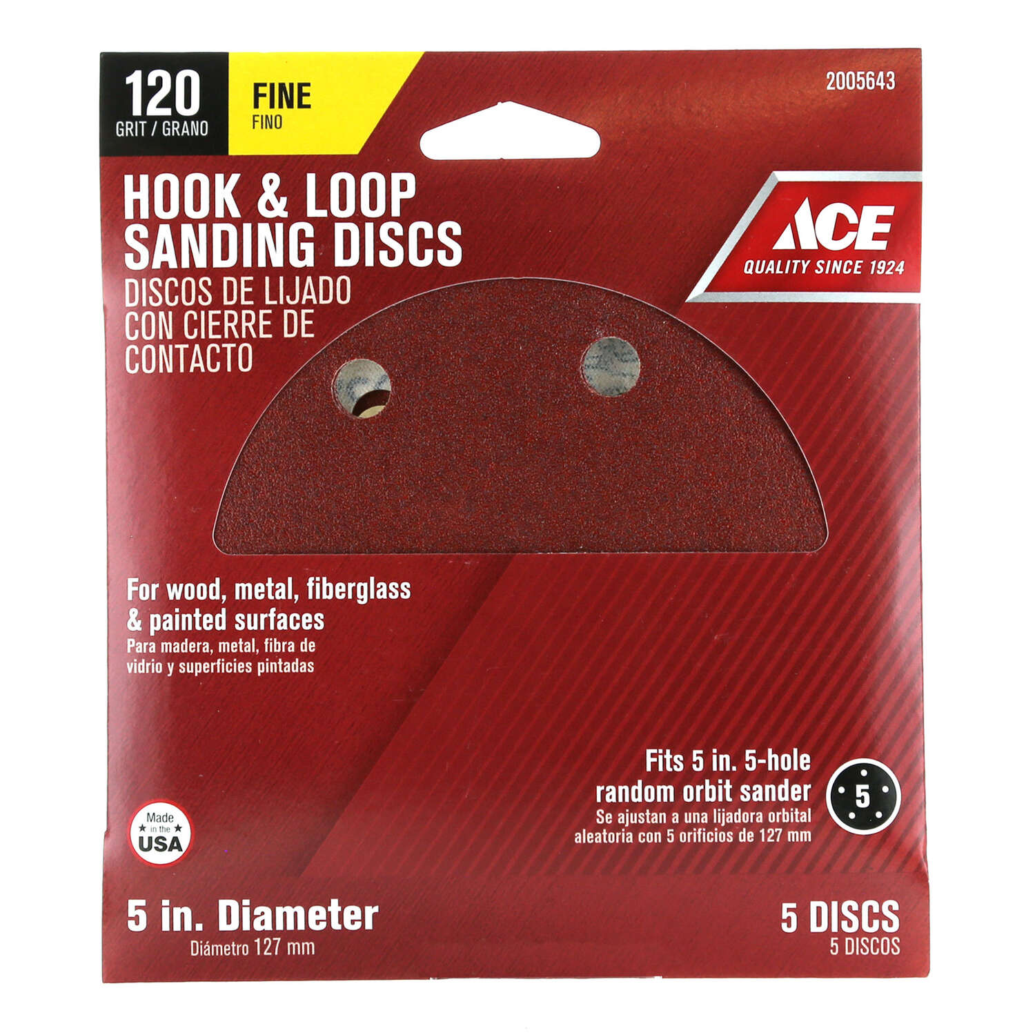 Ace  5 in. Aluminum Oxide  Hook and Loop  120 Grit Fine  Sanding Disc  5 pk