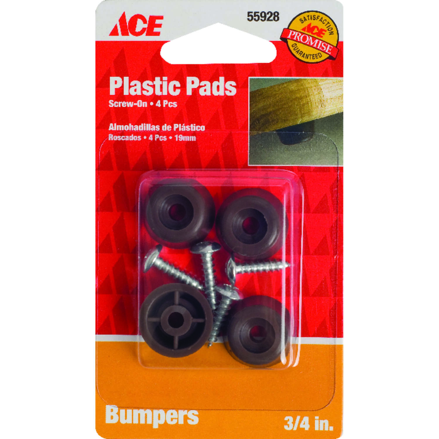 Ace  Plastic  Bumper Pads  Round  3/4 in. W 4 pk Brown