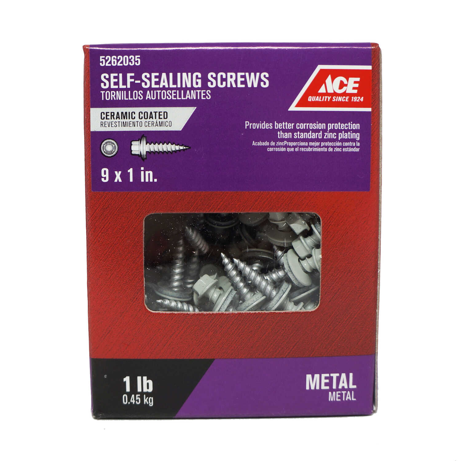 Ace  9 Sizes  x 1 in. L Hex Washer Head Ceramic  Steel  1 lb. Self-Sealing Screws