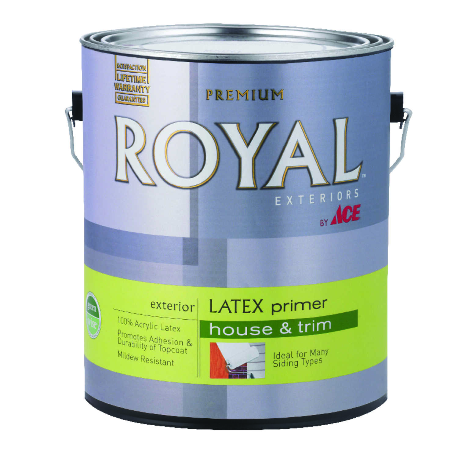 Ace  Royal Exteriors  Flat  White  Acrylic Latex  Latex Primer  For Wood 1 gal.