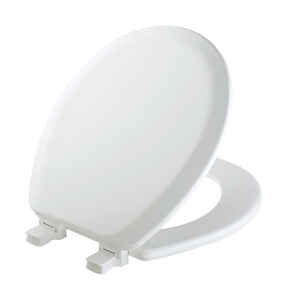 Mayfair  Never Loosens  Round  White  Molded Wood  Toilet Seat