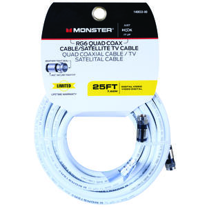 Monster Cable  Just Hook It Up  25 ft. Weatherproof Video Coaxial Cable