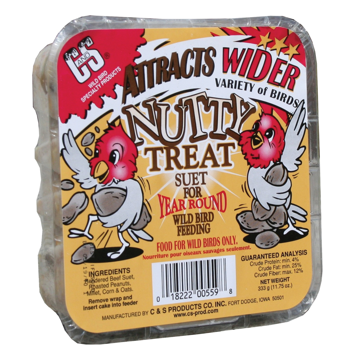 C&S Products  Nutty Treat  Assorted Species  Suet  Beef Suet  11.75 oz.
