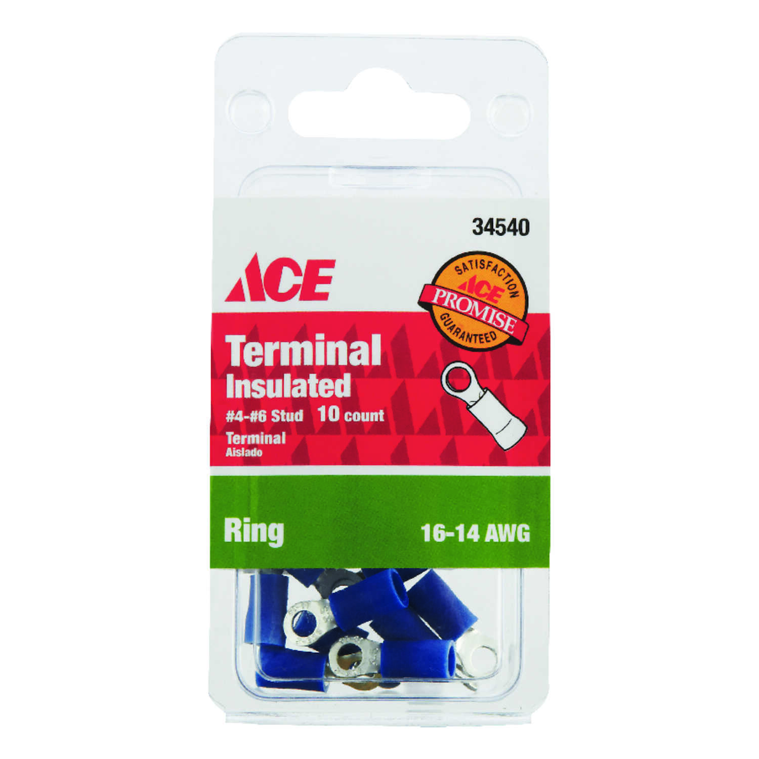 Ace  Insulated Wire  16-14 AWG Ring Terminal  10