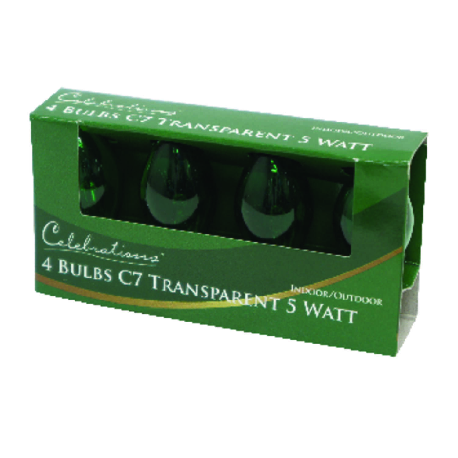 Celebrations  Incandescent  Transparent C7  Replacement Bulb  Green  4 lights