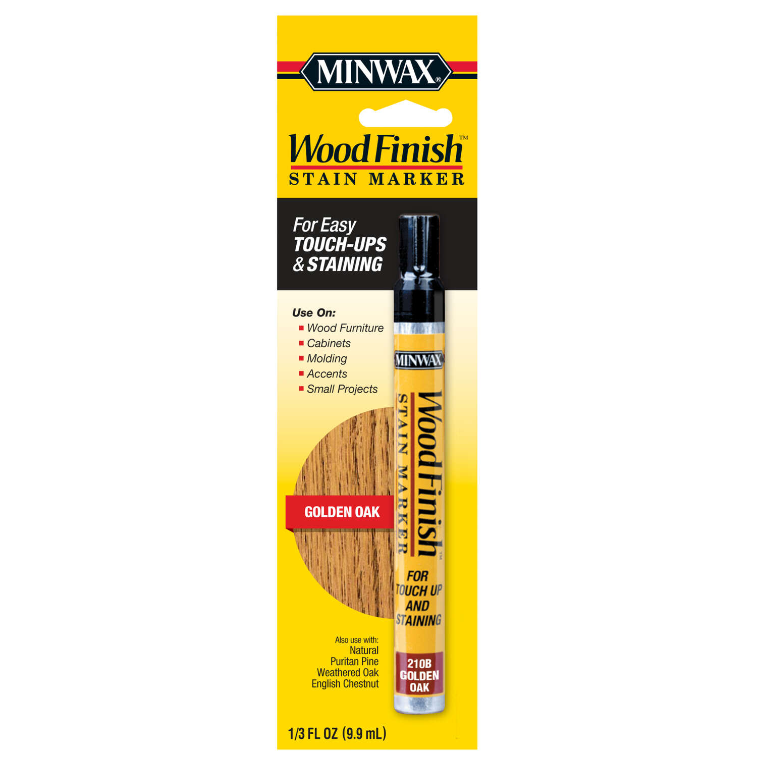 Minwax  Wood Finish  Semi-Transparent  Golden Oak  Oil-Based  Stain Marker  0.33 oz.