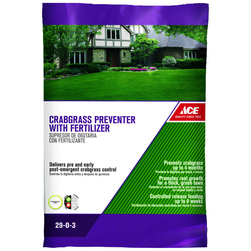 Ace Crabgrass Preventer 29-0-3 Lawn Fertilizer 15000 sq. ft. For All Grasses