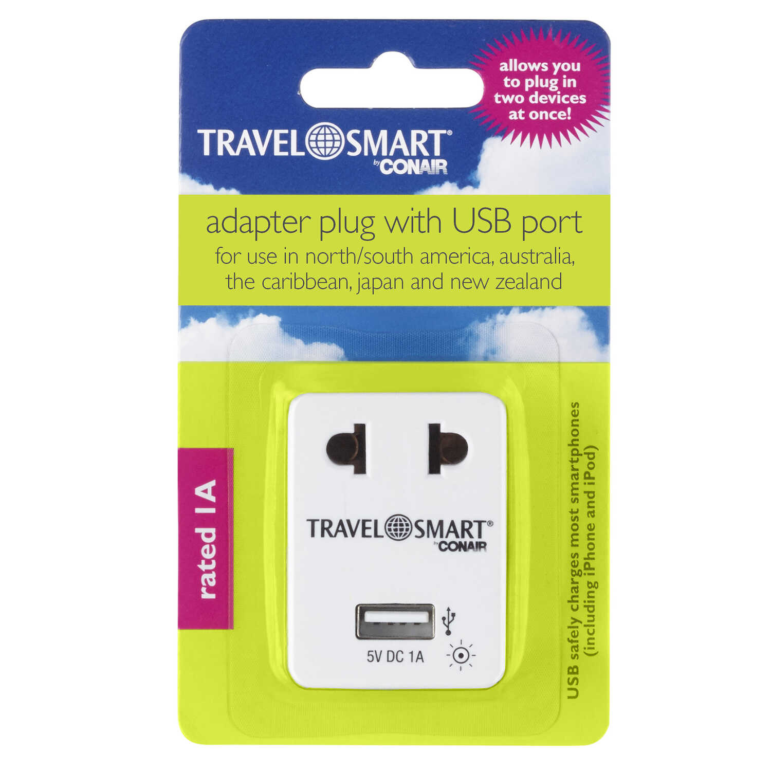 Travel Smart  For Worldwide Adapter Plug w/USB Port  Type A
