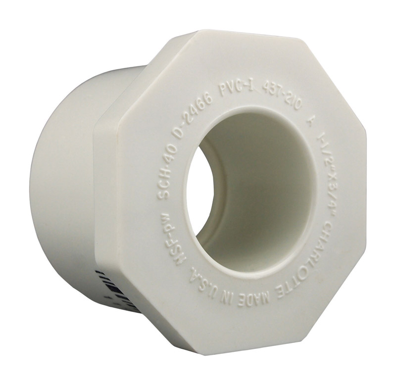 Charlotte Pipe  Schedule 40  1-1/2 in. Slip   x 3/4 in. Dia. Slip  PVC  Reducing Bushing
