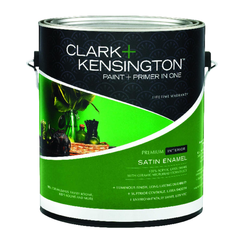 Clark kensington satin designer white acrylic latex paint and primer 1