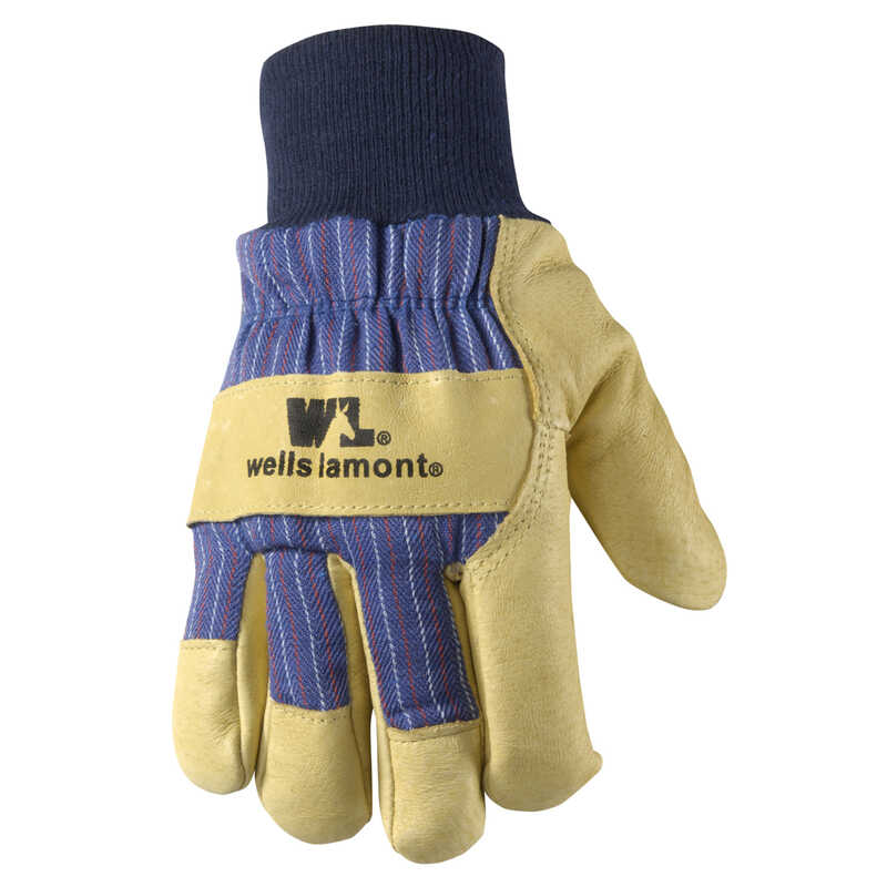 Wells Lamont  Men's  Outdoor  Palomino Leather  Cold Weather  Work Gloves  Blue/Tan  L