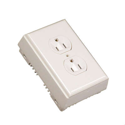 Wiremold  1-5/8 in. Rectangle  Plastic  1 gang Outlet Kit  Ivory