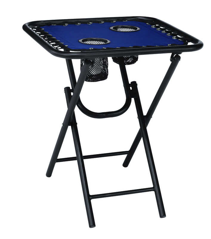 Living Accents  Bungee  Blue  Folding  Square  Table