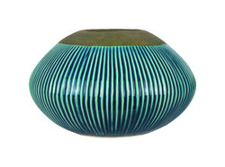 Trendspot Outdoozie Blue Ceramic 5.74 in. Ribbed Firepot 1 pk