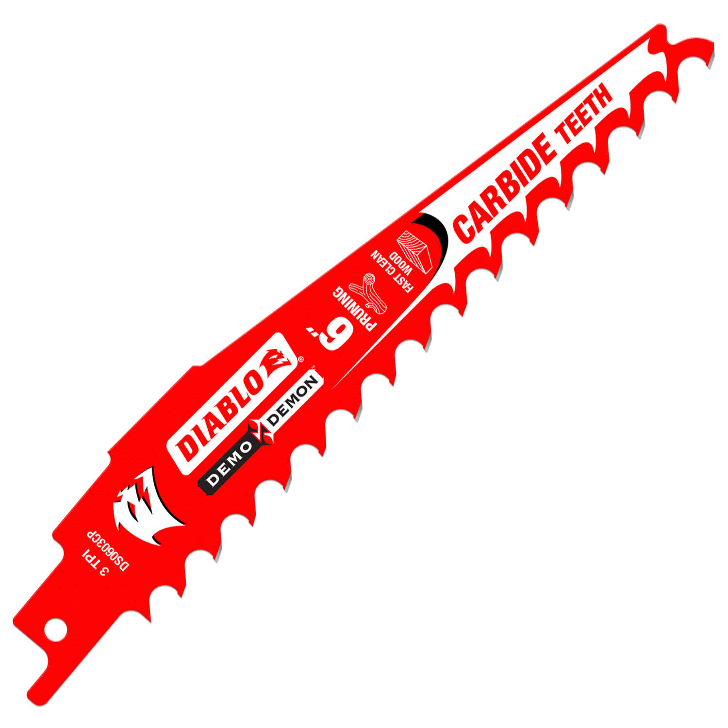 Diablo  Demo Demon  6 in. L x 1 in. W Carbide Tipped  Reciprocating Saw Blade  3 TPI 1 pk