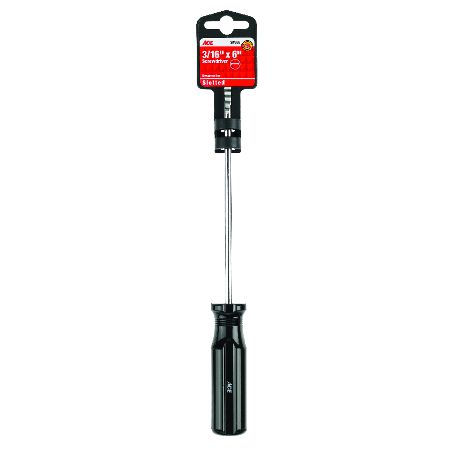 Ace  6 in. Slotted  3/16  Screwdriver  Steel  Black  1