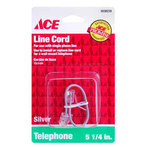 Ace  5.3 ft. L Silver  Modular Telephone Line Cable