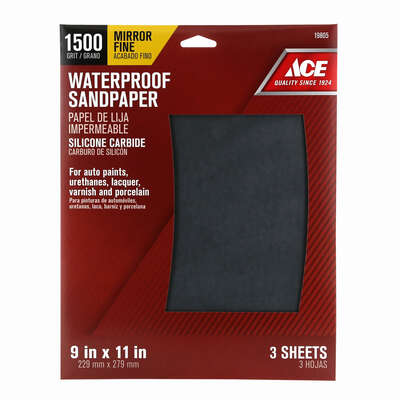 Ace  11 in. L x 9 in. W 1,500 Grit Silicon Carbide  Waterproof Sandpaper  3 pk