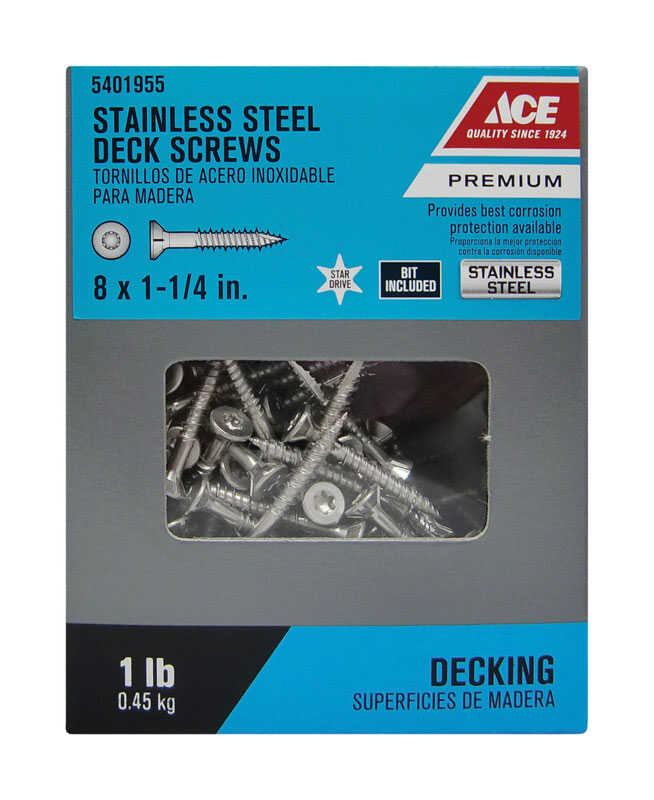Ace  No. 8   x 1-1/4 in. L Star  Flat Head Stainless Steel  Deck Screws  1 lb. 153 pk