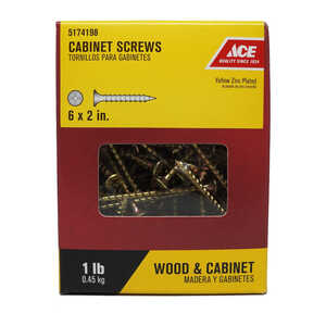 Ace  No. 6   x 2 in. L Phillips  Yellow Zinc-Plated  Steel  Cabinet Screws  1 lb. Bugle Head 185 pk