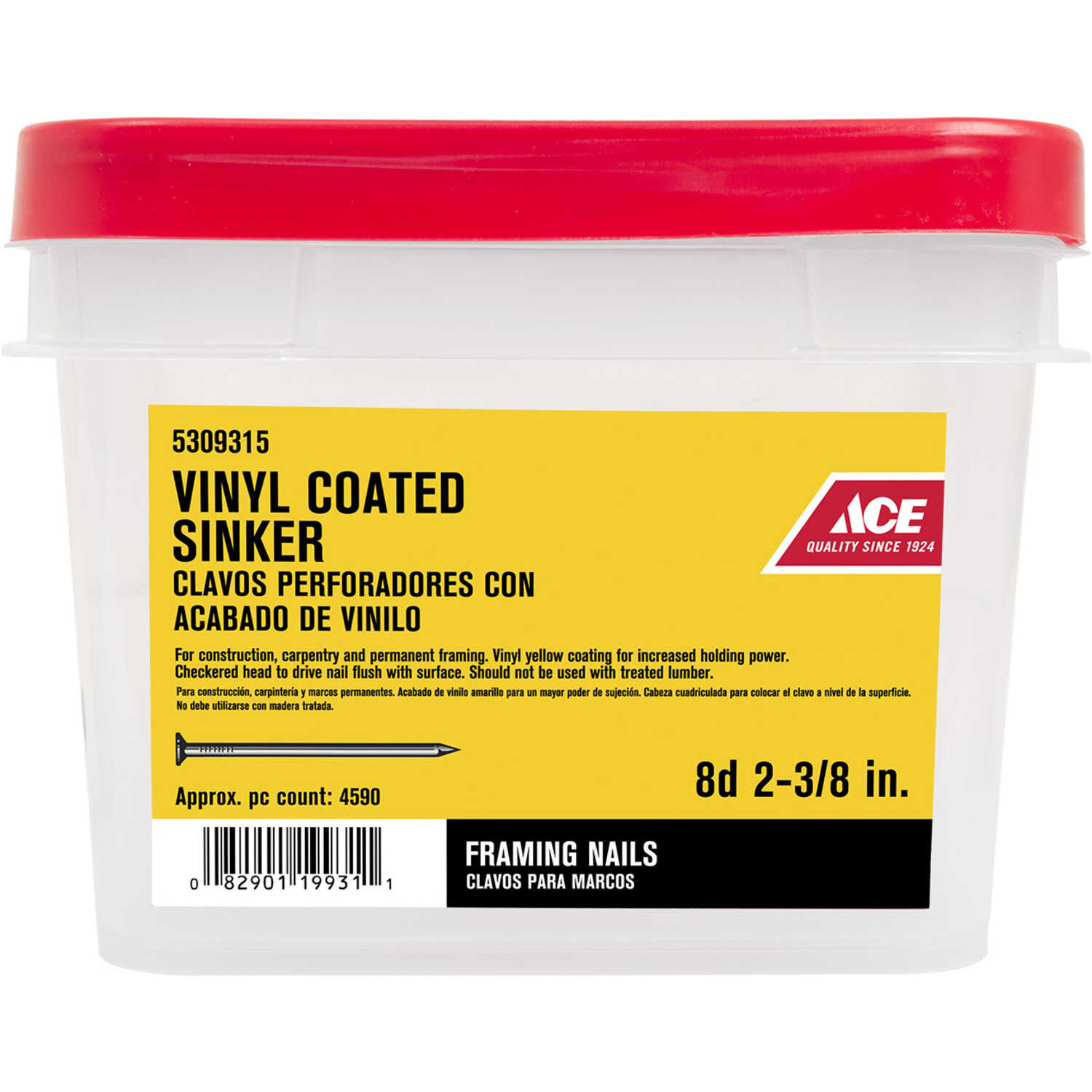 Ace  8D  2-3/8 in. L Sinker  Steel  Nail  Checkered Head Smooth Shank  1  30 lb.