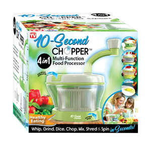 10 Second Chopper  As Seen On TV  Clear/Green  1 qt. 1 speed Hand  Food Mixer