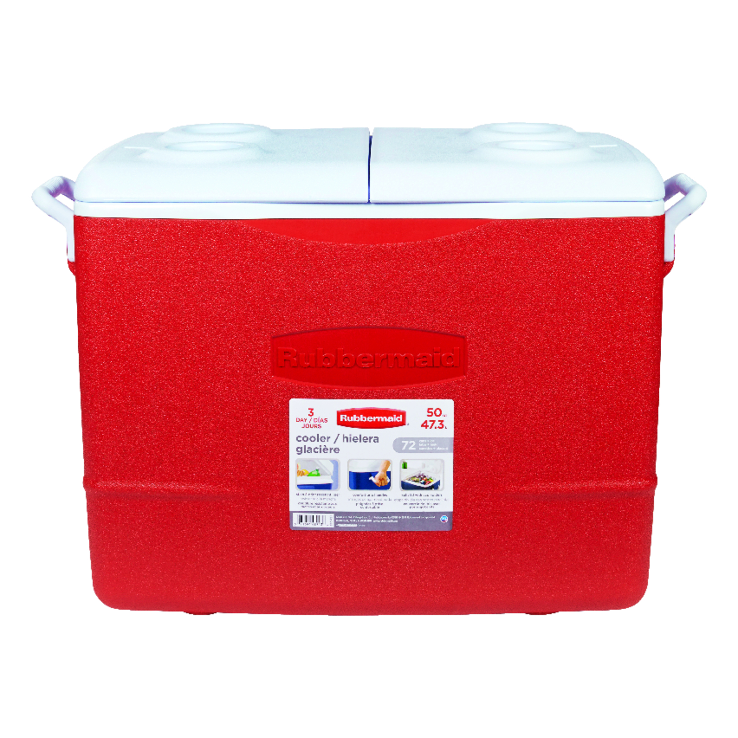 Rubbermaid  Cooler  50 qt. Red