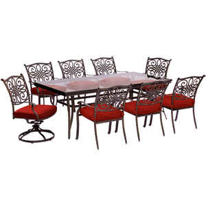 Hanover  Traditions  9 pc. Oil Rubbed Bronze  Aluminum  Traditions  Dining Patio Set  Red