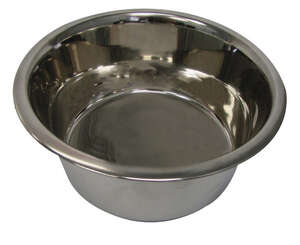 Hilo  Silver  Plain  Stainless Steel  2 qt. Pet Dish  For Dog