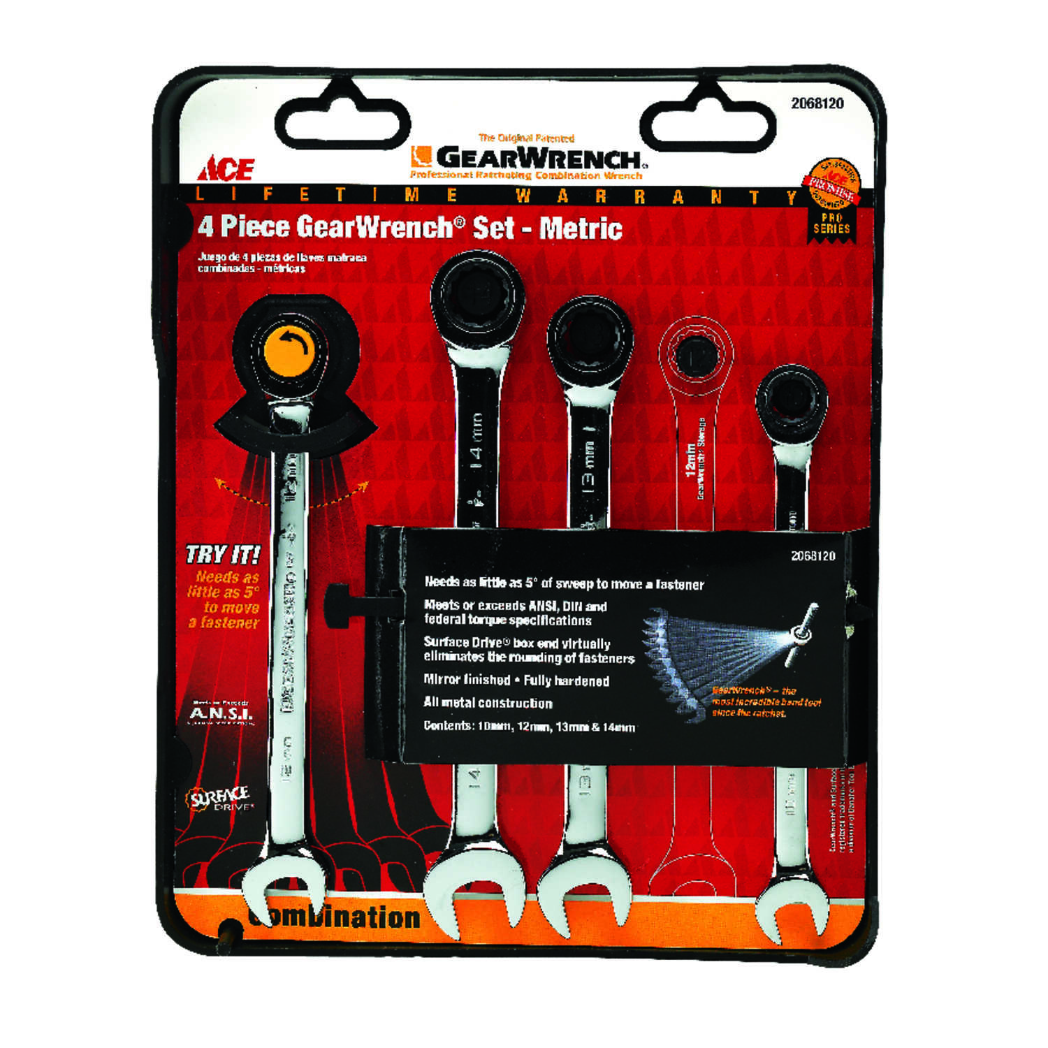 Ace  Multiple   Metric  Ratcheting Gearwrench Set  4 pc.