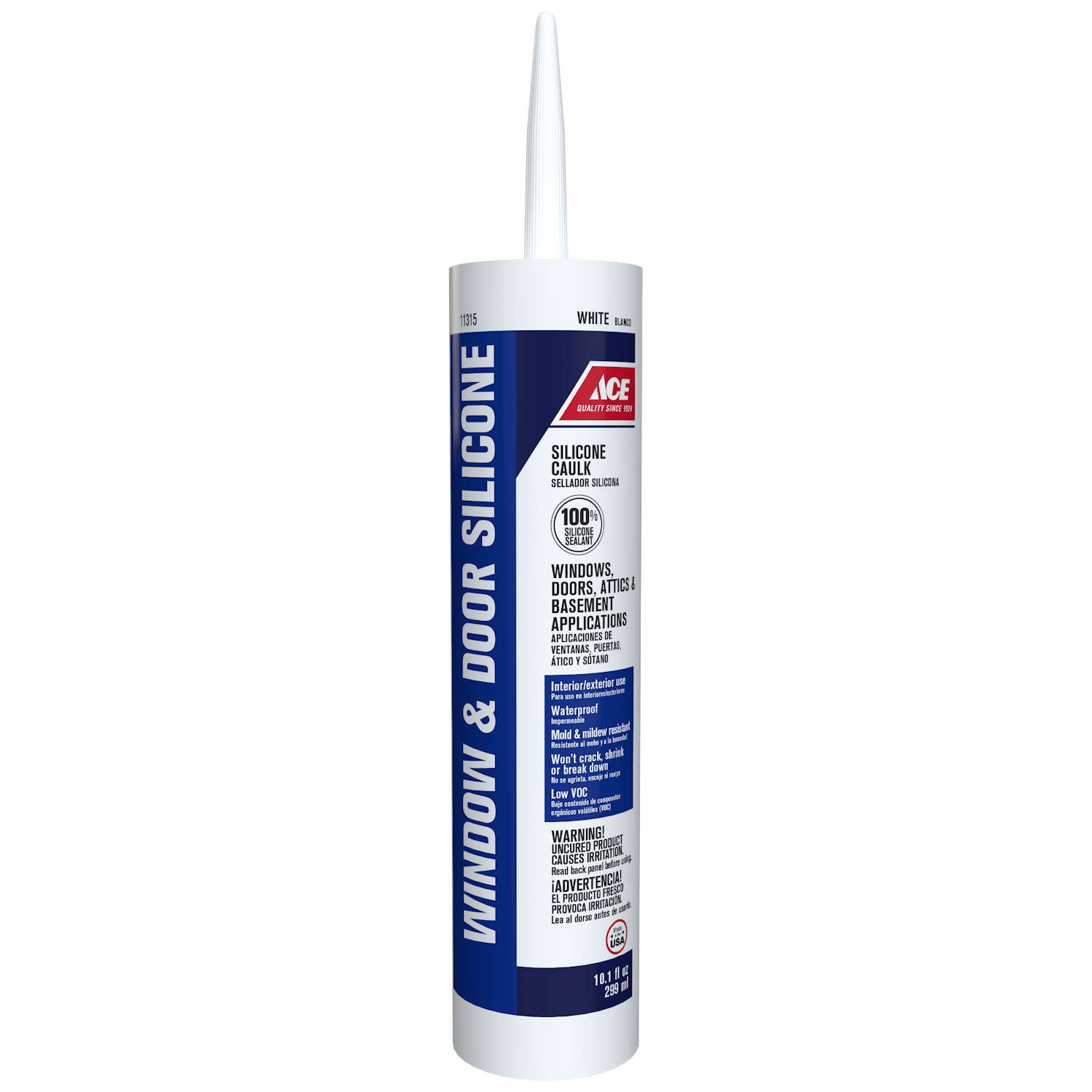 Ace  White  Silicone  Window and Door  Caulk Sealant  10.1 oz.