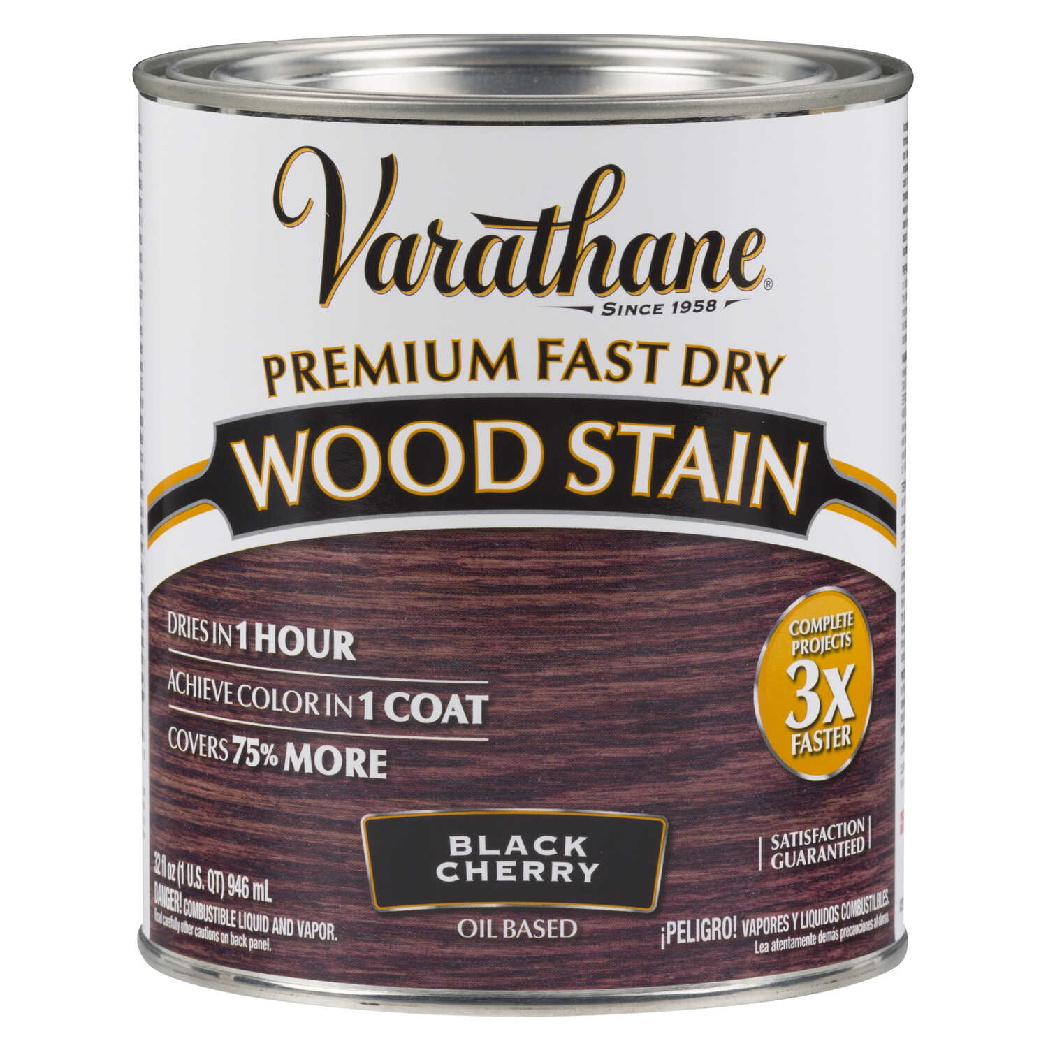 Varathane  Premium Fast Dry  Semi-Transparent  Black Cherry  Wood Stain  1 qt.