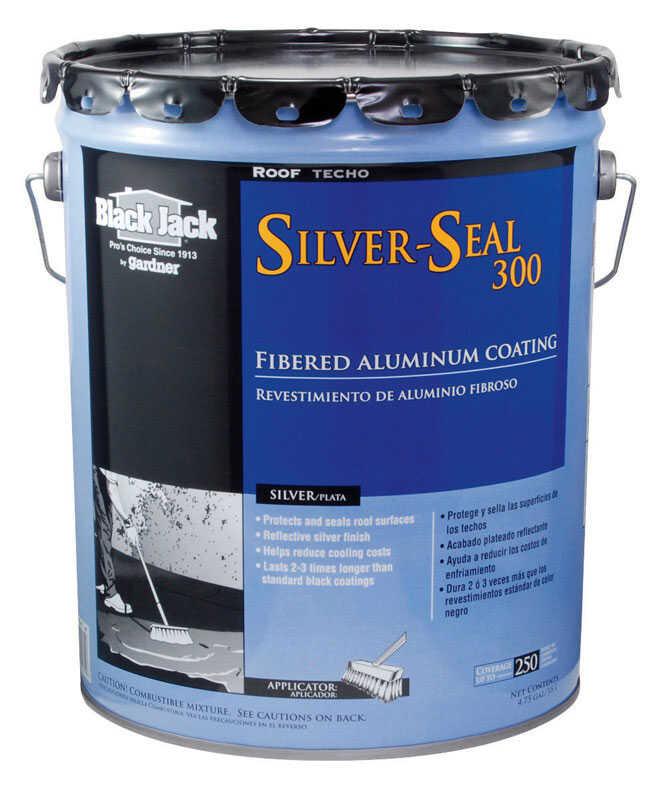Black Jack Gloss Silver Fibered Aluminum Roof Coating 5 gal  - Ace