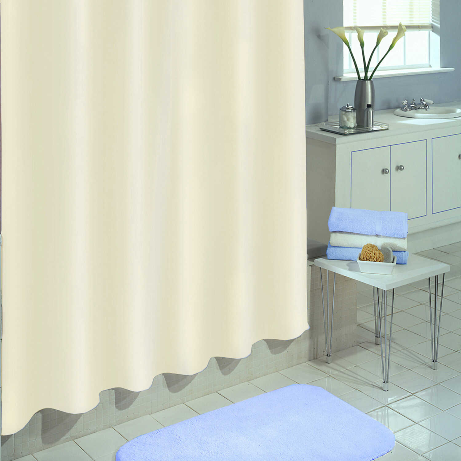 Excell  70 in. H x 71 in. W Ivory  Solid  Shower Curtain  Polyester
