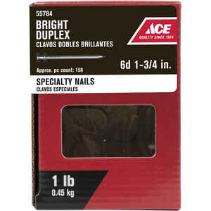 Ace  6D  1-3/4 in. L Duplex  Bright  Steel  Nail  Thin Shank  Double  1 lb.