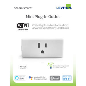 Leviton  Decora Smart  15 amps 120 volt Single  White  Electrical WiFi Outlet  5-15R  1 pk