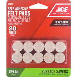Ace  Felt  Self Adhesive Pad  Brown  Round  3/4 in. W 20 pk