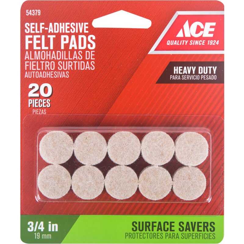 Ace  Felt  Pad  Brown  Round  3/4 in. W 20 pk Self Adhesive