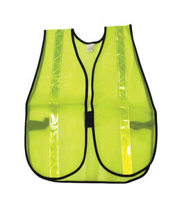 MCR Safety  Reflective Polyester  Safety Vest with Reflective Stripe  Fluorescent Green  One Size Fi