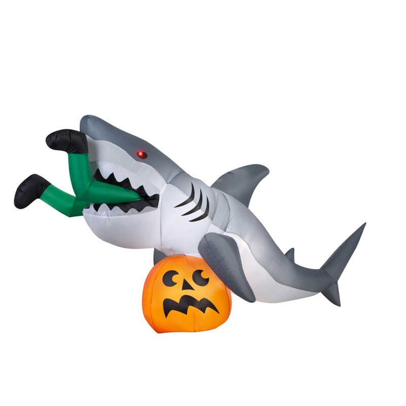Gemmy  Get Caught By A Shark  Lighted 48.8 in. H x 107.5 in. W x 35.8 in. L Halloween Inflatable  1